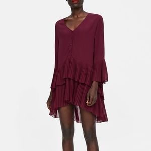 Zara burgundy pleated blouse